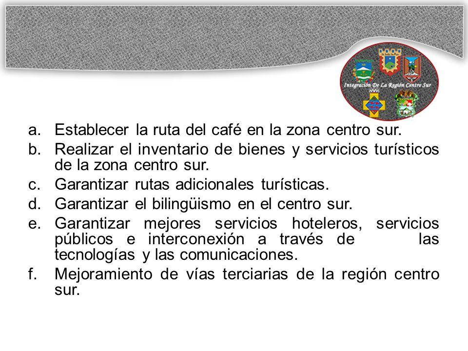 a.Establecer la ruta del café en la zona centro sur.