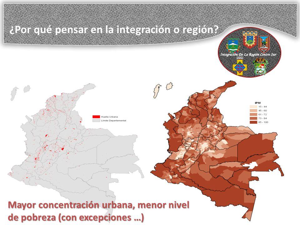 Mayor concentración urbana, menor nivel de pobreza (con excepciones …) ¿Por qué pensar en la integración o región?