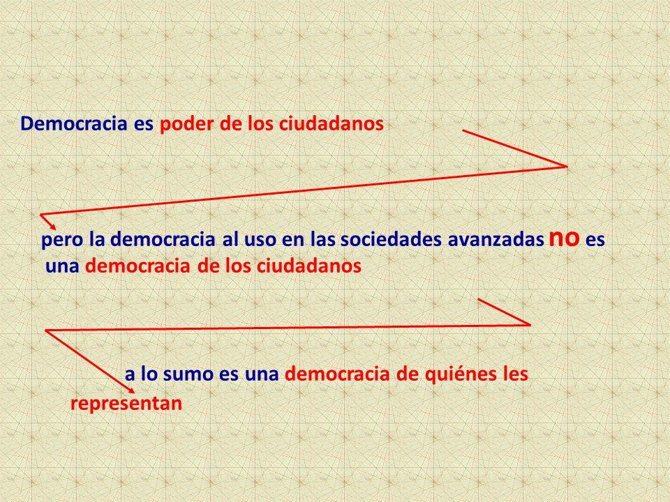 Democracia es poder de los ciudadanos pero la democracia al uso en las sociedades avanzadas no es una democracia de los ciudadanos a lo sumo es una democracia de quiénes les representan