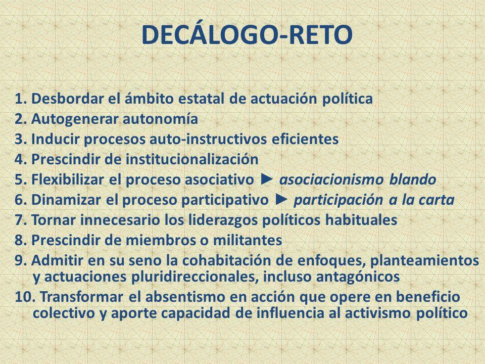 DECÁLOGO-RETO 1. Desbordar el ámbito estatal de actuación política 2.