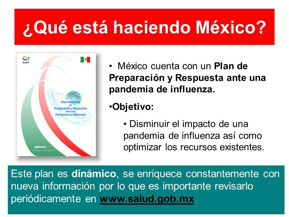 ¿Qué está haciendo México? México cuenta con un Plan de Preparación y Respuesta ante una pandemia de influenza. Objetivo: Disminuir el impacto de una