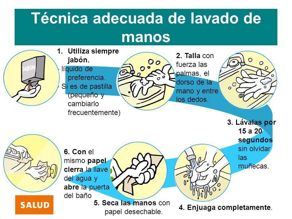 Técnica adecuada de lavado de manos 1.Utiliza siempre jabón. - líquido de preferencia. - Si es de pastilla (pequeño y cambiarlo frecuentemente) 2. Tal