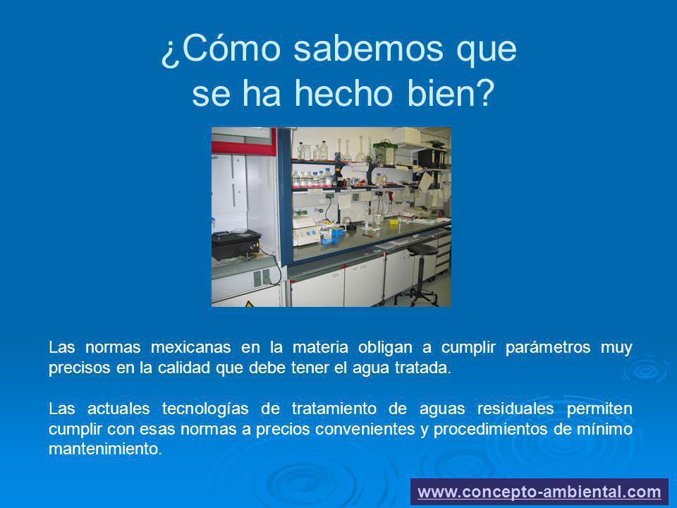 ¿Cómo sabemos que se ha hecho bien? www.concepto-ambiental.com Las normas mexicanas en la materia obligan a cumplir parámetros muy precisos en la cali