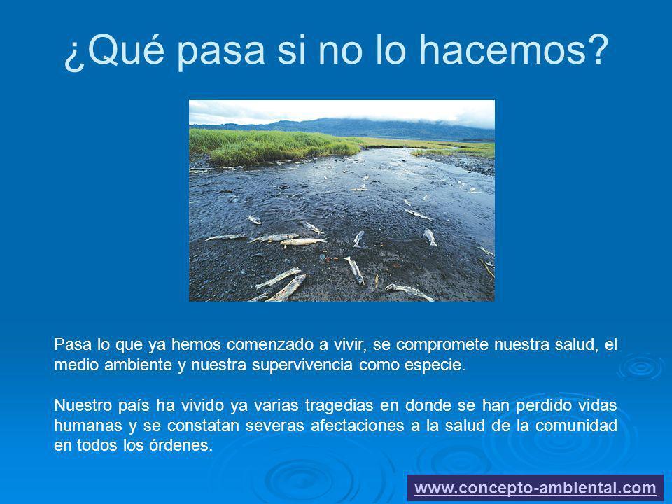 ¿Qué pasa si no lo hacemos? www.concepto-ambiental.com Pasa lo que ya hemos comenzado a vivir, se compromete nuestra salud, el medio ambiente y nuestr
