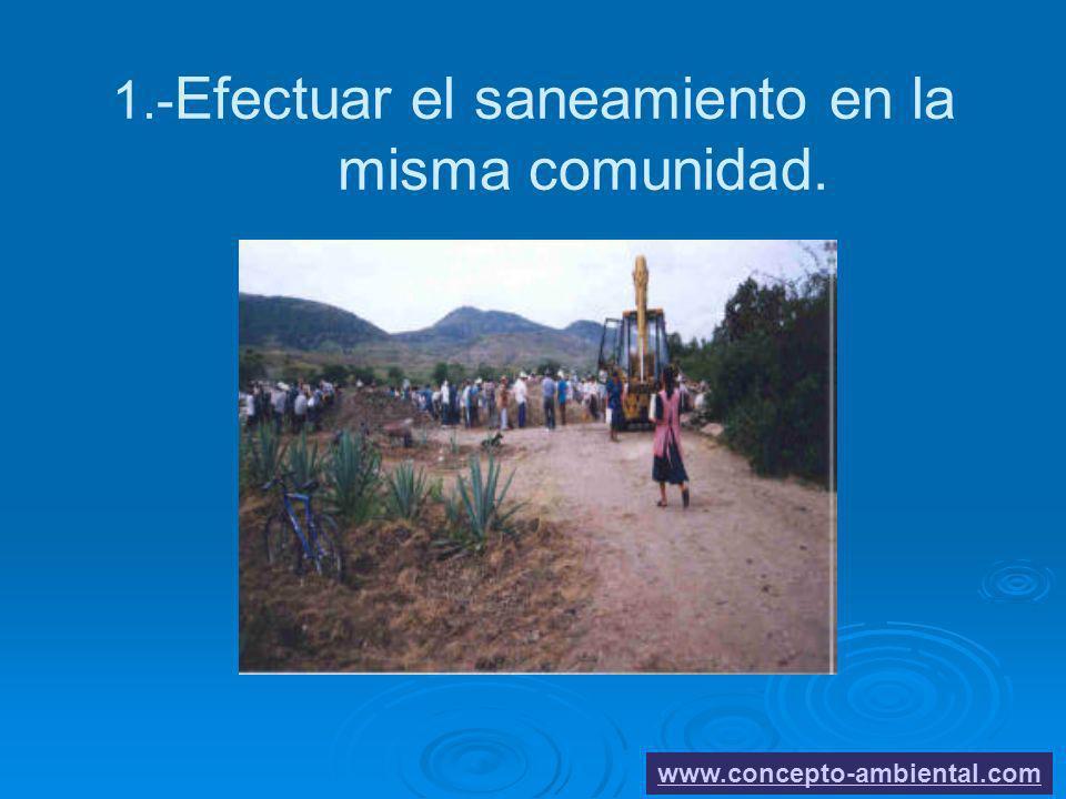 1.- Efectuar el saneamiento en la misma comunidad. www.concepto-ambiental.com