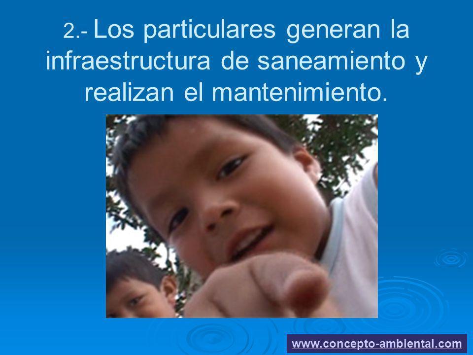 2.- Los particulares generan la infraestructura de saneamiento y realizan el mantenimiento. www.concepto-ambiental.com