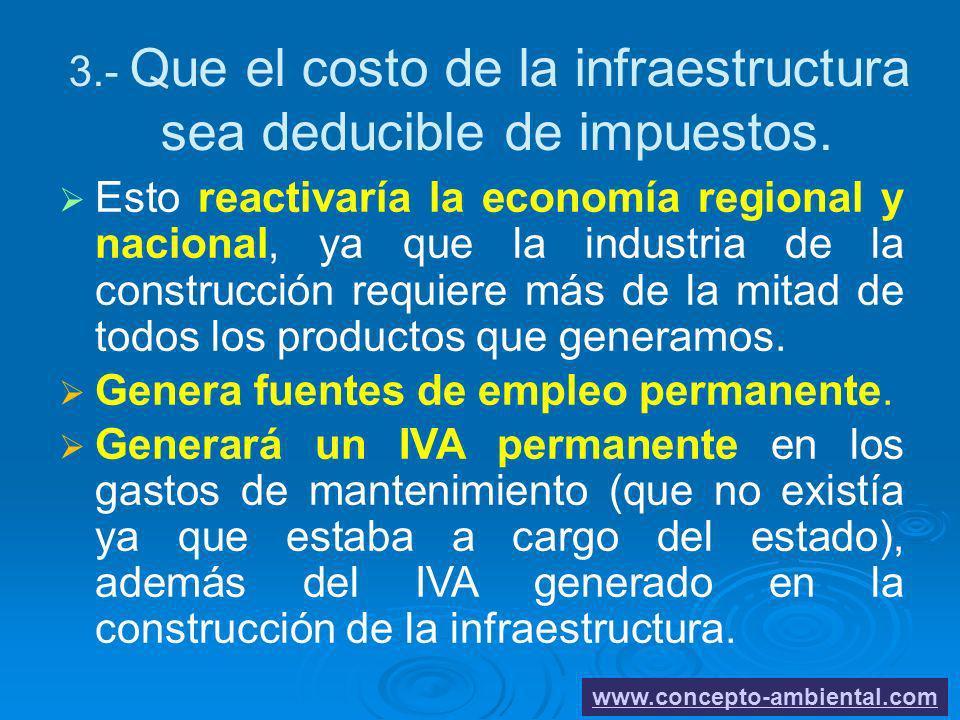 3.- Que el costo de la infraestructura sea deducible de impuestos. Esto reactivaría la economía regional y nacional, ya que la industria de la constru