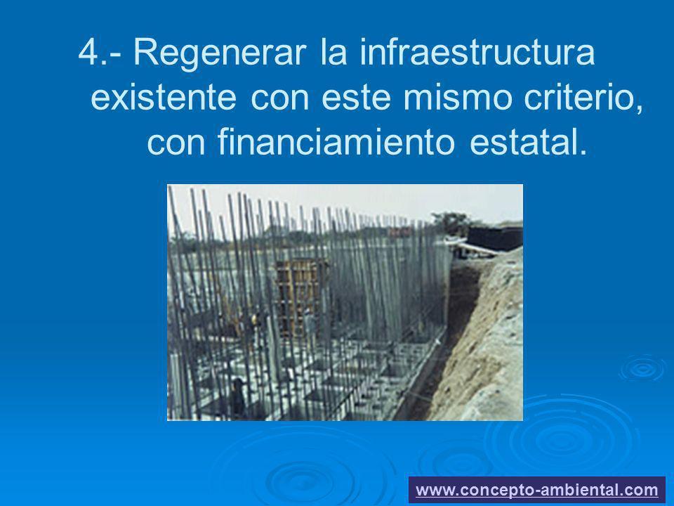 4.- Regenerar la infraestructura existente con este mismo criterio, con financiamiento estatal. www.concepto-ambiental.com