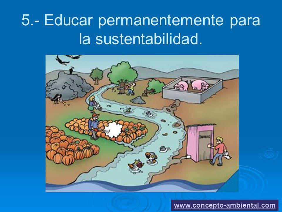 5.- Educar permanentemente para la sustentabilidad. www.concepto-ambiental.com