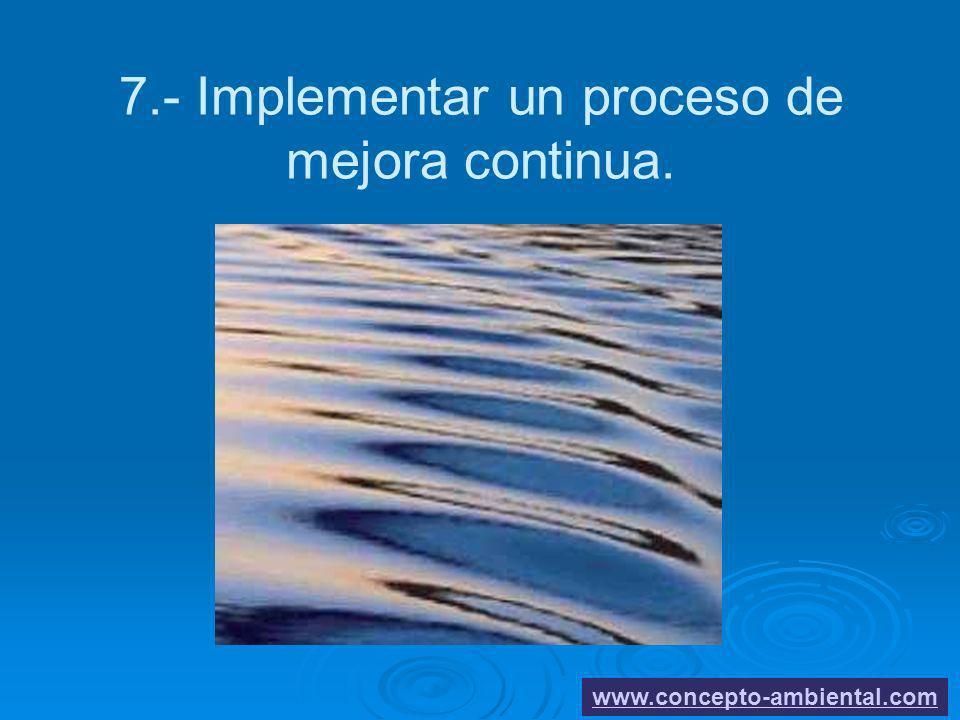 7.- Implementar un proceso de mejora continua. www.concepto-ambiental.com