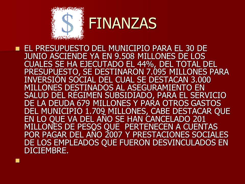 FINANZAS EL PRESUPUESTO DEL MUNICIPIO PARA EL 30 DE JUNIO ASCIENDE YA EN 9.508 MILLONES DE LOS CUALES SE HA EJECUTADO EL 44%, DEL TOTAL DEL PRESUPUESTO, SE DESTINARON 7.095 MILLONES PARA INVERSIÓN SOCIAL DEL CUAL SE DESTACAN 3.000 MILLONES DESTINADOS AL ASEGURAMIENTO EN SALUD DEL RÉGIMEN SUBSIDIADO, PARA EL SERVICIO DE LA DEUDA 679 MILLONES Y PARA OTROS GASTOS DEL MUNICIPIO 1.709 MILLONES, CABE DESTACAR QUE EN LO QUE VA DEL AÑO SE HAN CANCELADO 201 MILLONES DE PESOS QUE PERTENECEN A CUENTAS POR PAGAR DEL AÑO 2007 Y PRESTACIONES SOCIALES DE LOS EMPLEADOS QUE FUERON DESVINCULADOS EN DICIEMBRE.