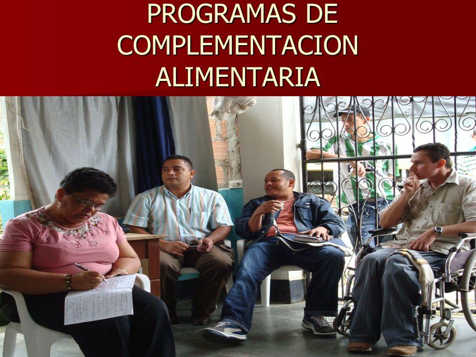 PROGRAMAS DE COMPLEMENTACION ALIMENTARIA PROGRAMAS DE COMPLEMENTACION ALIMENTARIA