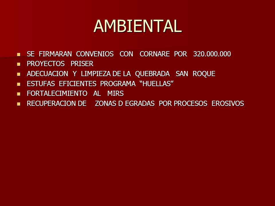 AMBIENTAL SE FIRMARAN CONVENIOS CON CORNARE POR 320.000.000 SE FIRMARAN CONVENIOS CON CORNARE POR 320.000.000 PROYECTOS PRISER PROYECTOS PRISER ADECUACION Y LIMPIEZA DE LA QUEBRADA SAN ROQUE ADECUACION Y LIMPIEZA DE LA QUEBRADA SAN ROQUE ESTUFAS EFICIENTES PROGRAMA HUELLAS ESTUFAS EFICIENTES PROGRAMA HUELLAS FORTALECIMIENTO AL MIRS FORTALECIMIENTO AL MIRS RECUPERACION DE ZONAS D EGRADAS POR PROCESOS EROSIVOS RECUPERACION DE ZONAS D EGRADAS POR PROCESOS EROSIVOS