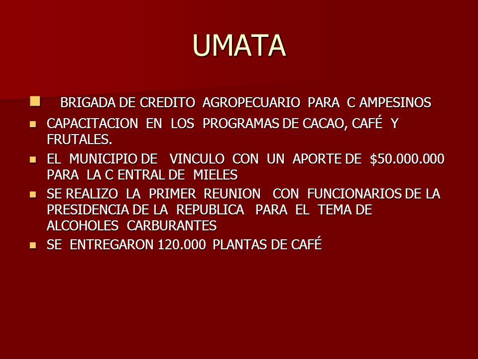 UMATA BRIGADA DE CREDITO AGROPECUARIO PARA C AMPESINOS BRIGADA DE CREDITO AGROPECUARIO PARA C AMPESINOS CAPACITACION EN LOS PROGRAMAS DE CACAO, CAFÉ Y FRUTALES.