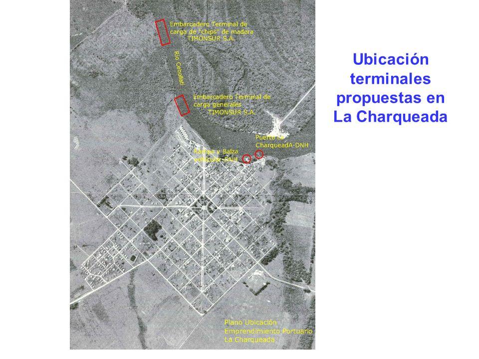 Ubicación terminales propuestas en La Charqueada