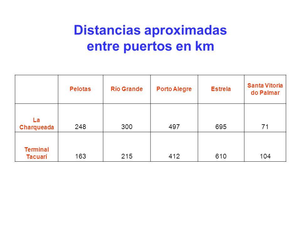 PelotasRío GrandePorto AlegreEstrela Santa Vitoria do Palmar La Charqueada 24830049769571 Terminal Tacuarí 163215412610104 Distancias aproximadas entre puertos en km