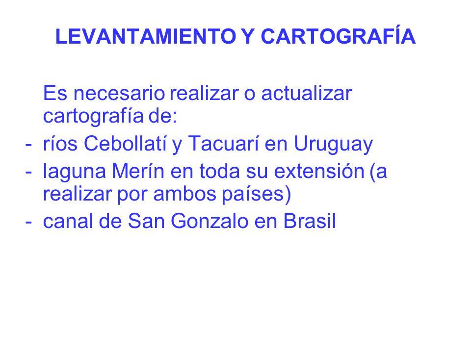 Es necesario realizar o actualizar cartografía de: -ríos Cebollatí y Tacuarí en Uruguay -laguna Merín en toda su extensión (a realizar por ambos países) -canal de San Gonzalo en Brasil LEVANTAMIENTO Y CARTOGRAFÍA