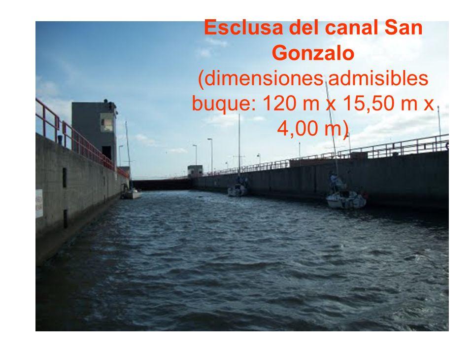 Esclusa del canal San Gonzalo (dimensiones admisibles buque: 120 m x 15,50 m x 4,00 m)