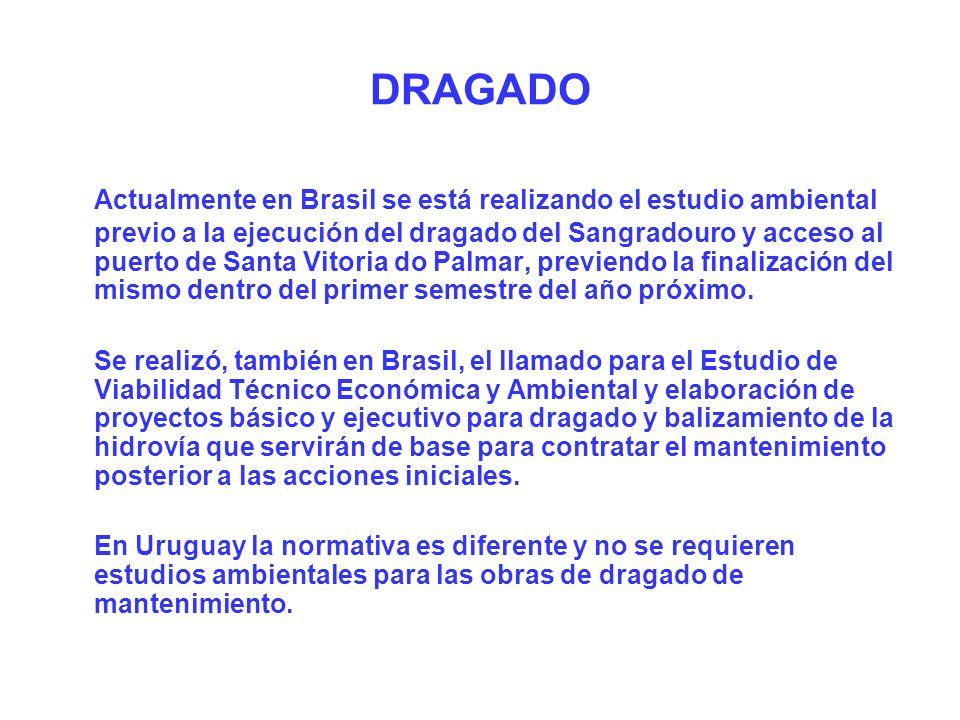 Actualmente en Brasil se está realizando el estudio ambiental previo a la ejecución del dragado del Sangradouro y acceso al puerto de Santa Vitoria do Palmar, previendo la finalización del mismo dentro del primer semestre del año próximo.