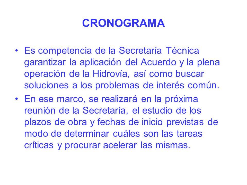 CRONOGRAMA Es competencia de la Secretaría Técnica garantizar la aplicación del Acuerdo y la plena operación de la Hidrovía, así como buscar soluciones a los problemas de interés común.