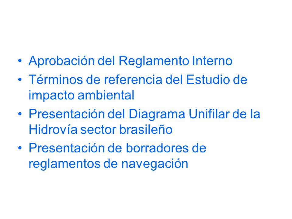 Aprobación del Reglamento Interno Términos de referencia del Estudio de impacto ambiental Presentación del Diagrama Unifilar de la Hidrovía sector brasileño Presentación de borradores de reglamentos de navegación