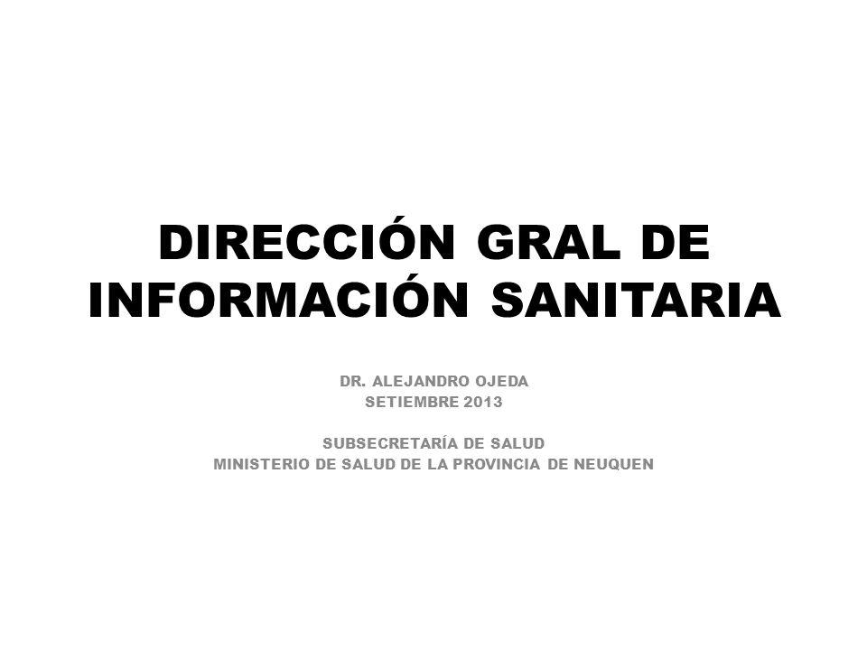 DIRECCIÓN GRAL DE INFORMACIÓN SANITARIA DR. ALEJANDRO OJEDA SETIEMBRE 2013 SUBSECRETARÍA DE SALUD MINISTERIO DE SALUD DE LA PROVINCIA DE NEUQUEN