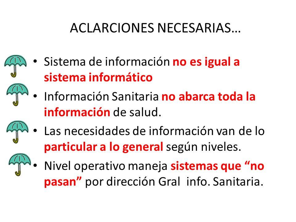 ACLARCIONES NECESARIAS… Sistema de información no es igual a sistema informático Información Sanitaria no abarca toda la información de salud. Las nec