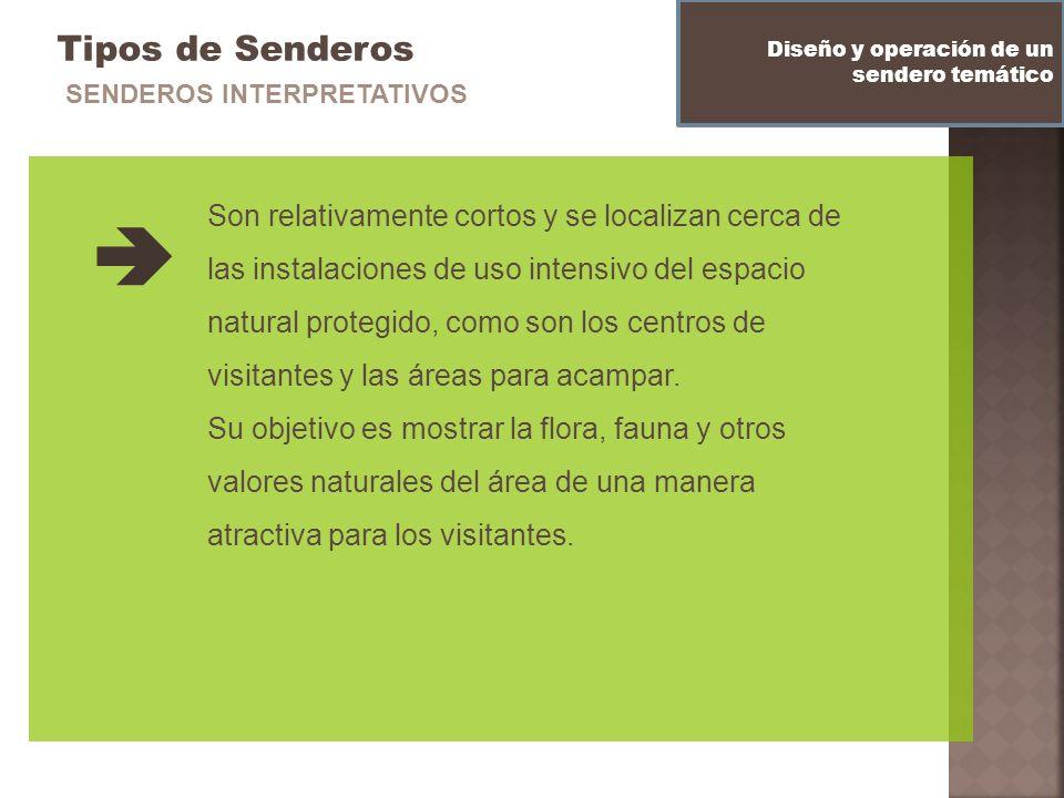 Tipos de Senderos Diseño y operación de un sendero temático SENDEROS INTERPRETATIVOS Son relativamente cortos y se localizan cerca de las instalacione