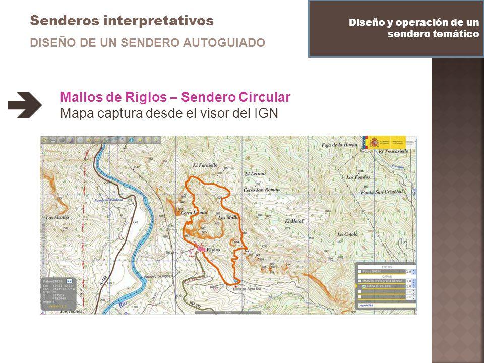 Senderos interpretativos Diseño y operación de un sendero temático DISEÑO DE UN SENDERO AUTOGUIADO Mallos de Riglos – Sendero Circular Mapa captura de