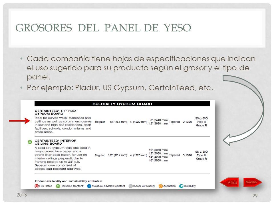GROSORES DEL PANEL DE YESO Cada compañía tiene hojas de especificaciones que indican el uso sugerido para su producto según el grosor y el tipo de panel.
