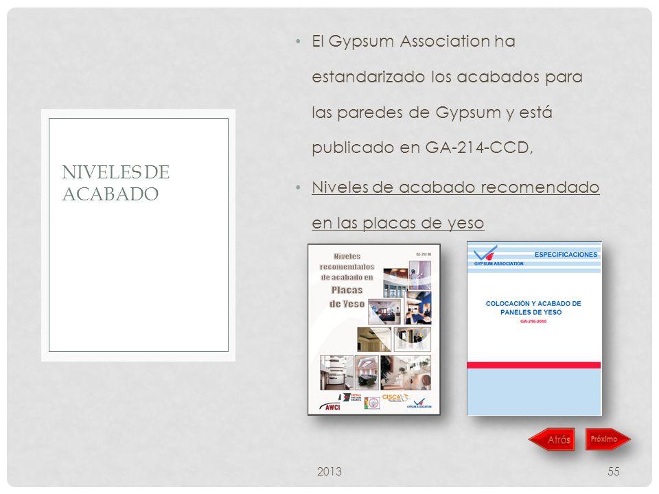 El Gypsum Association ha estandarizado los acabados para las paredes de Gypsum y está publicado en GA-214-CCD, Niveles de acabado recomendado en las placas de yeso 201355 NIVELES DE ACABADO