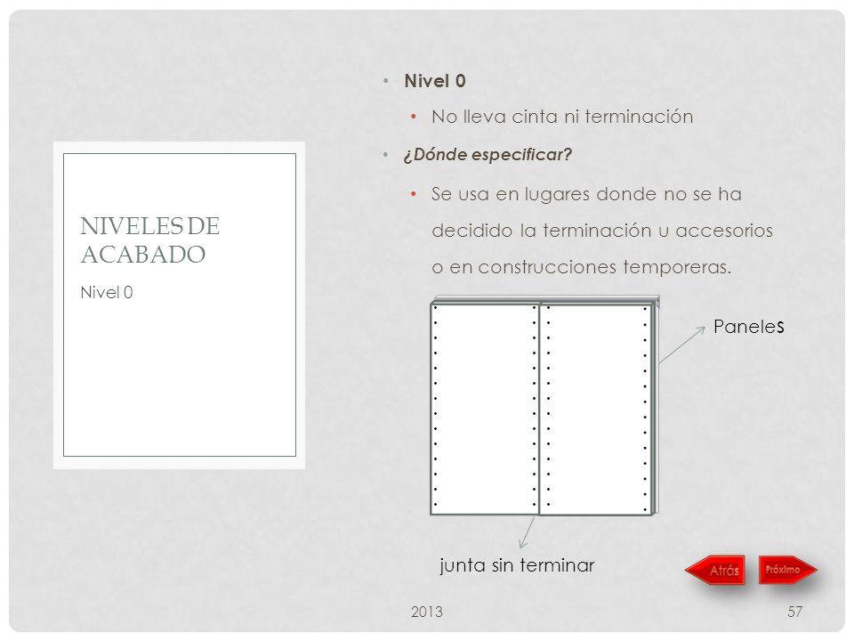 Nivel 0 No lleva cinta ni terminación ¿Dónde especificar? Se usa en lugares donde no se ha decidido la terminación u accesorios o en construcciones te