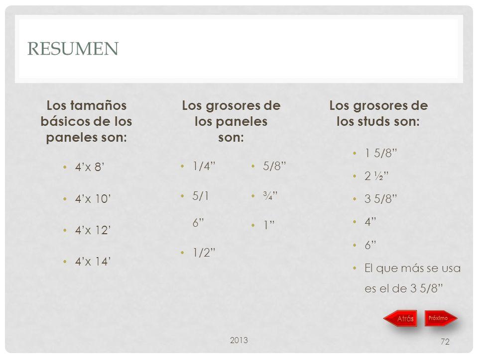 RESUMEN Los tamaños básicos de los paneles son: 4x 8 4x 10 4x 12 4x 14 Los grosores de los paneles son: 1/4 5/1 6 1/2 5/8 ¾ 1 2013 72 Los grosores de los studs son: 1 5/8 2 ½ 3 5/8 4 6 El que más se usa es el de 3 5/8