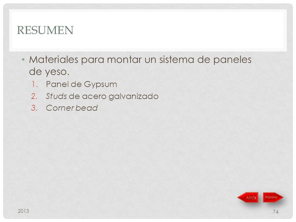 RESUMEN 2013 74 Materiales para montar un sistema de paneles de yeso. 1.Panel de Gypsum 2.Studs de acero galvanizado 3.Corner bead