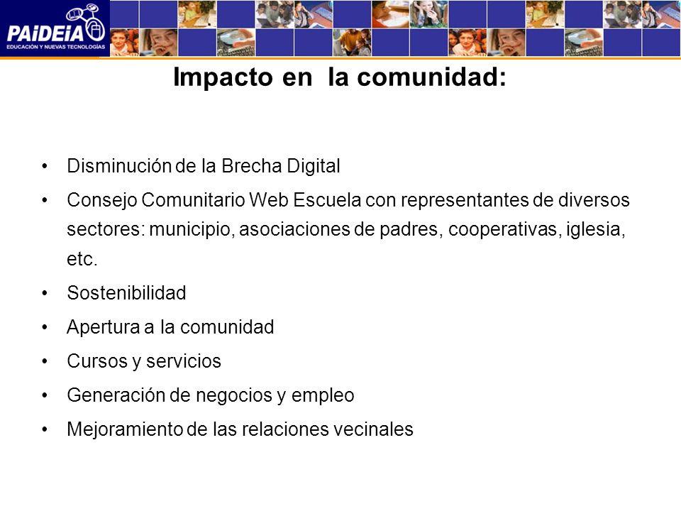 Impacto en la comunidad: Disminución de la Brecha Digital Consejo Comunitario Web Escuela con representantes de diversos sectores: municipio, asociaciones de padres, cooperativas, iglesia, etc.