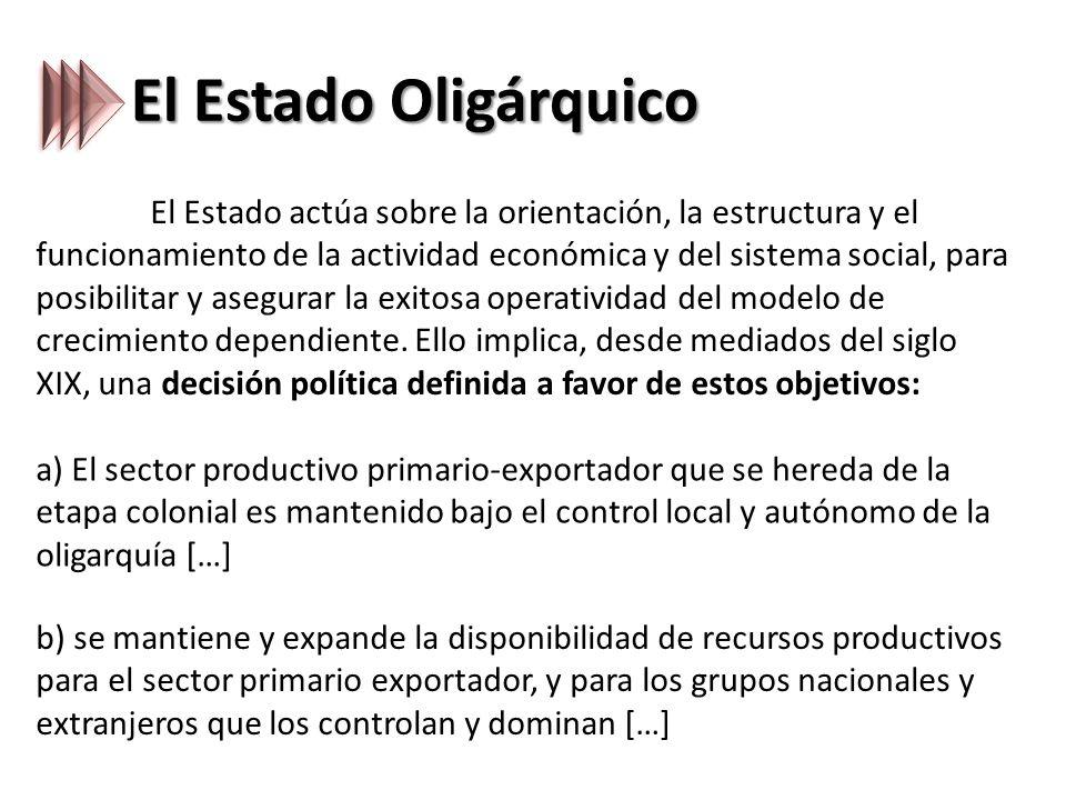 El Estado Oligárquico El Estado actúa sobre la orientación, la estructura y el funcionamiento de la actividad económica y del sistema social, para posibilitar y asegurar la exitosa operatividad del modelo de crecimiento dependiente.