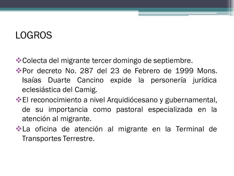 LOGROS Colecta del migrante tercer domingo de septiembre. Por decreto No. 287 del 23 de Febrero de 1999 Mons. Isaías Duarte Cancino expide la personer