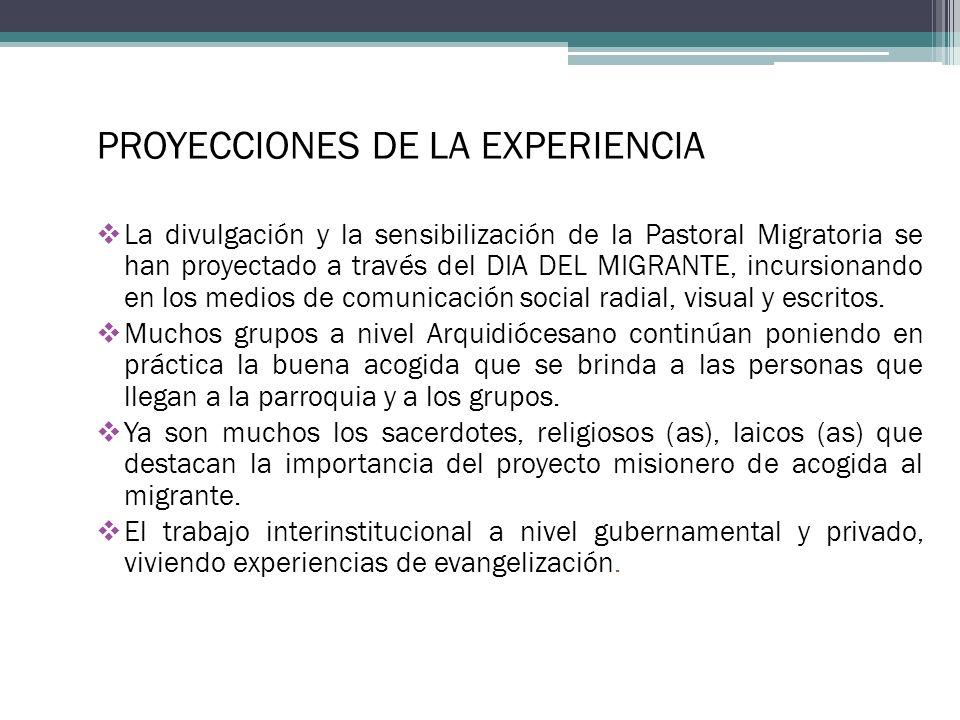 PROYECCIONES DE LA EXPERIENCIA La divulgación y la sensibilización de la Pastoral Migratoria se han proyectado a través del DIA DEL MIGRANTE, incursionando en los medios de comunicación social radial, visual y escritos.