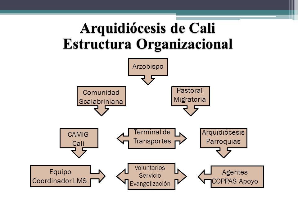 Arquidiócesis de Cali Estructura Organizacional Arzobispo Comunidad Scalabriniana Pastoral Migratoria CAMIG Cali Terminal de Transportes Arquidiócesis Parroquias Equipo Coordinador LMS.