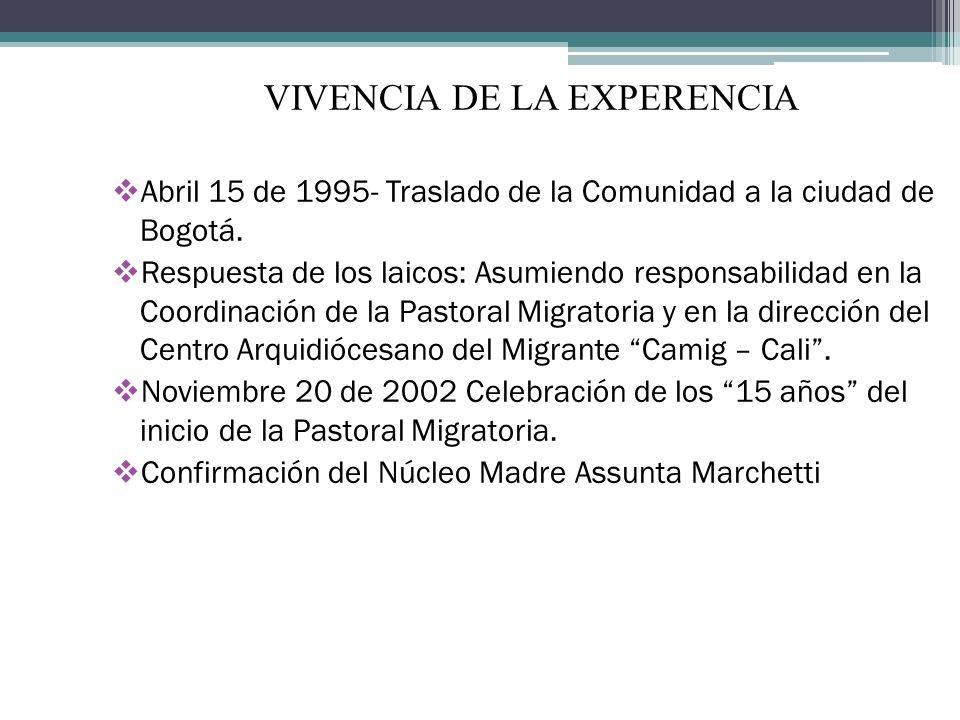 VIVENCIA DE LA EXPERENCIA Abril 15 de 1995- Traslado de la Comunidad a la ciudad de Bogotá. Respuesta de los laicos: Asumiendo responsabilidad en la C