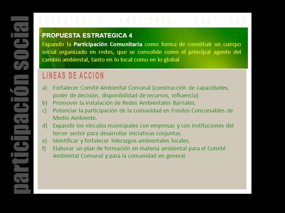 a)Fortalecer Comité Ambiental Comunal (construcción de capacidades, poder de decisión, disponibilidad de recursos, influencia) b)Promover la instalación de Redes Ambientales Barriales.