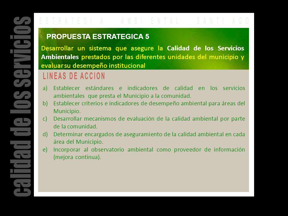 a)Establecer estándares e indicadores de calidad en los servicios ambientales que presta el Municipio a la comunidad.