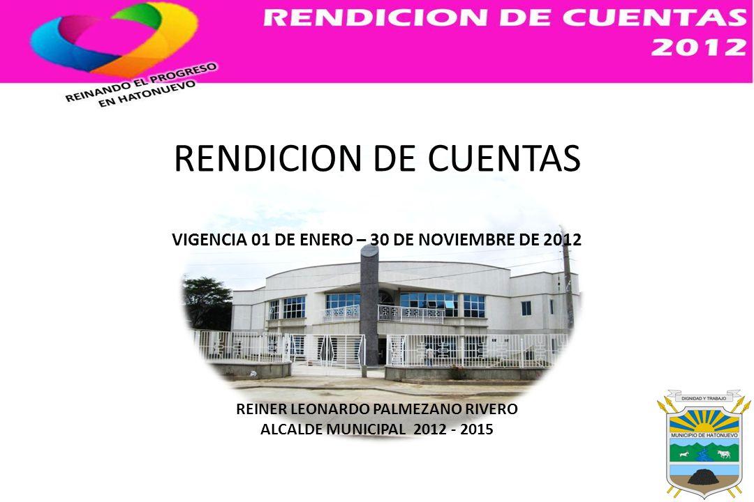RENDICION DE CUENTAS VIGENCIA 01 DE ENERO – 30 DE NOVIEMBRE DE 2012 REINER LEONARDO PALMEZANO RIVERO ALCALDE MUNICIPAL 2012 - 2015