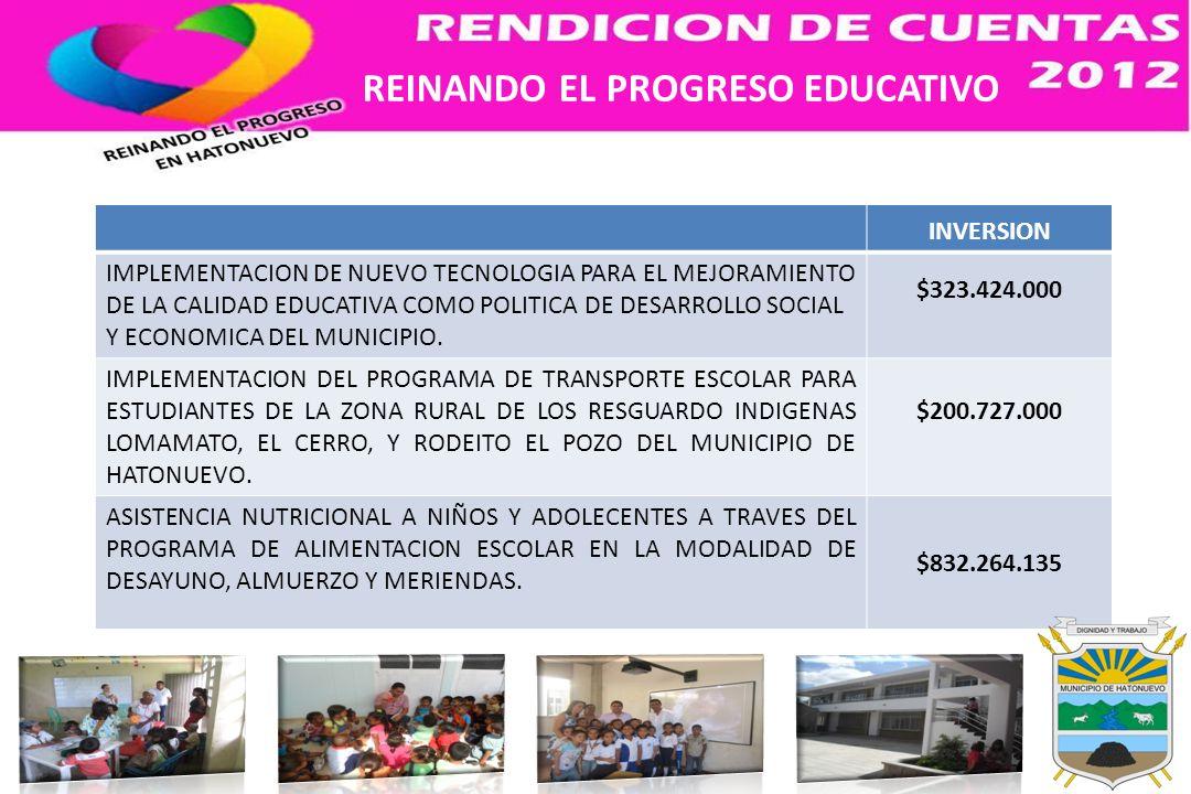 INVERSION IMPLEMENTACION DE NUEVO TECNOLOGIA PARA EL MEJORAMIENTO DE LA CALIDAD EDUCATIVA COMO POLITICA DE DESARROLLO SOCIAL Y ECONOMICA DEL MUNICIPIO