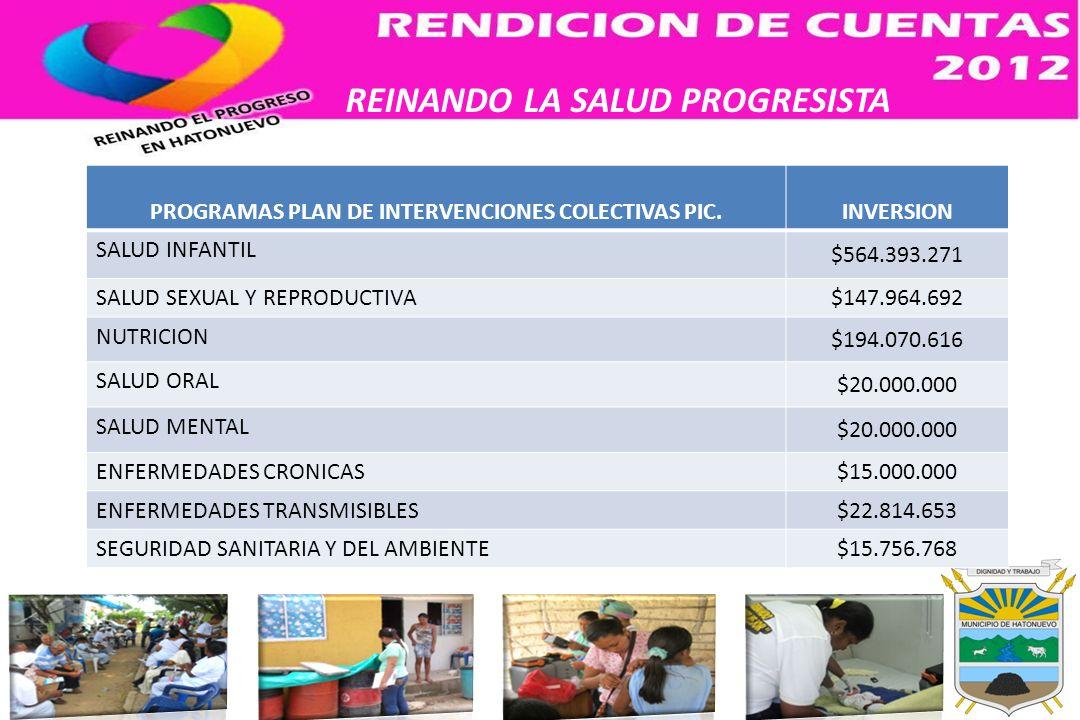 REINANDO LA SALUD PROGRESISTA PROGRAMAS PLAN DE INTERVENCIONES COLECTIVAS PIC.INVERSION SALUD INFANTIL $564.393.271 SALUD SEXUAL Y REPRODUCTIVA$147.96