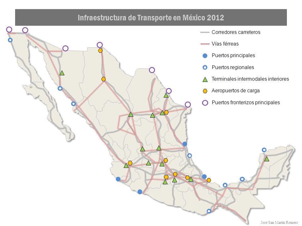 José San Martín Romero Corredores carreteros Infraestructura de Transporte en México 2012 Vías férreas Puertos principales Puertos regionales Terminales intermodales interiores Aeropuertos de carga Puertos fronterizos principales