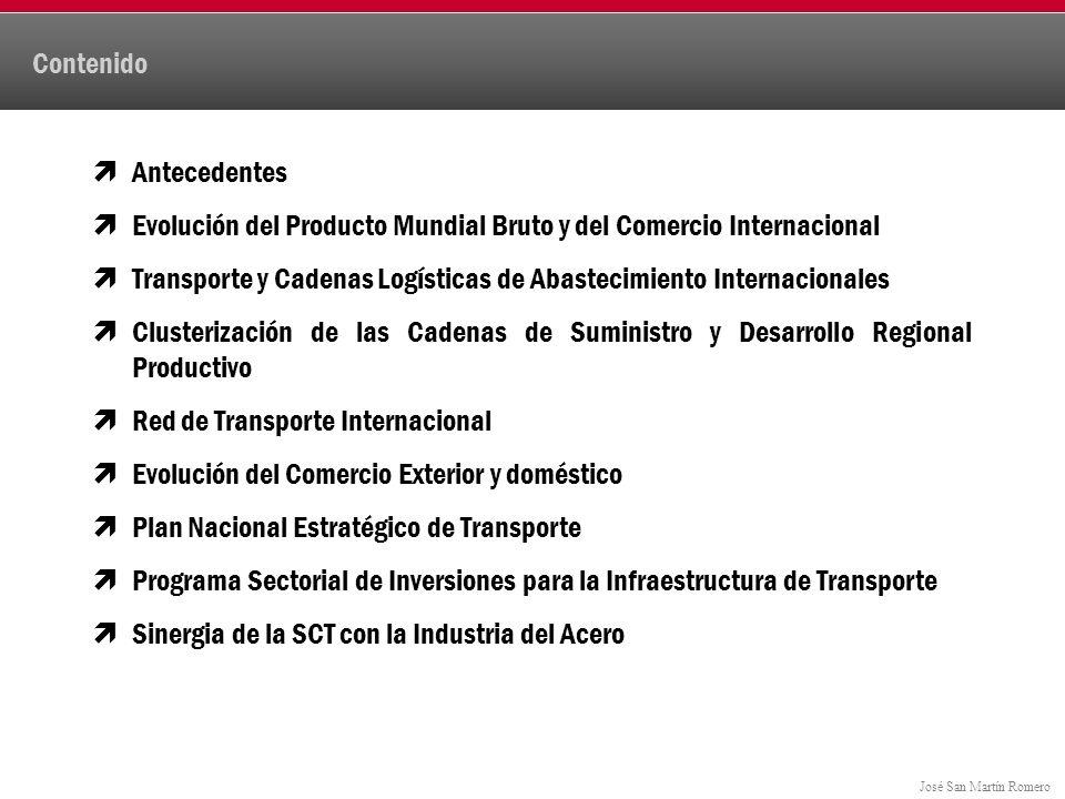 José San Martín Romero Contenido Antecedentes Evolución del Producto Mundial Bruto y del Comercio Internacional Transporte y Cadenas Logísticas de Abastecimiento Internacionales Clusterización de las Cadenas de Suministro y Desarrollo Regional Productivo Red de Transporte Internacional Evolución del Comercio Exterior y doméstico Plan Nacional Estratégico de Transporte Programa Sectorial de Inversiones para la Infraestructura de Transporte Sinergia de la SCT con la Industria del Acero