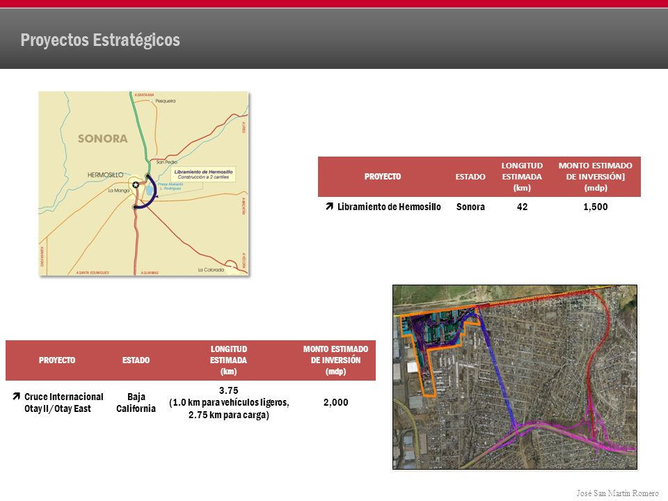 José San Martín Romero Proyectos Estratégicos PROYECTO ESTADO LONGITUD ESTIMADA (km) MONTO ESTIMADO DE INVERSIÓN] (mdp) Libramiento de HermosilloSonora421,500 PROYECTOESTADO LONGITUD ESTIMADA (km) MONTO ESTIMADO DE INVERSIÓN (mdp) Cruce Internacional Otay II/Otay East Baja California 3.75 (1.0 km para vehículos ligeros, 2.75 km para carga) 2,000