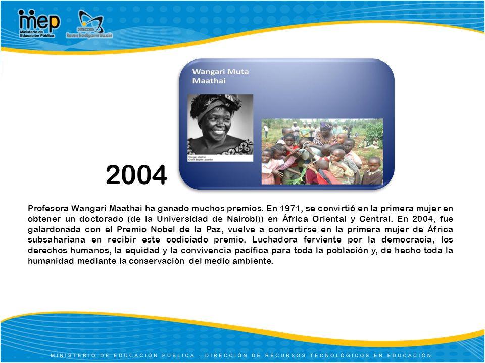 2004 Profesora Wangari Maathai ha ganado muchos premios. En 1971, se convirtió en la primera mujer en obtener un doctorado (de la Universidad de Nairo