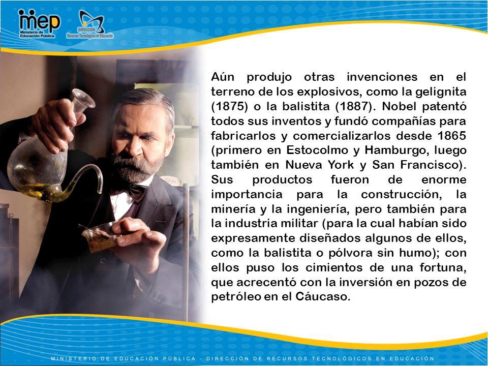 Aún produjo otras invenciones en el terreno de los explosivos, como la gelignita (1875) o la balistita (1887). Nobel patentó todos sus inventos y fund